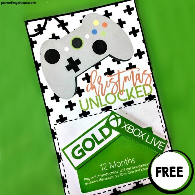 Christmas Unlocked Printable Xbox Gift Card Holder