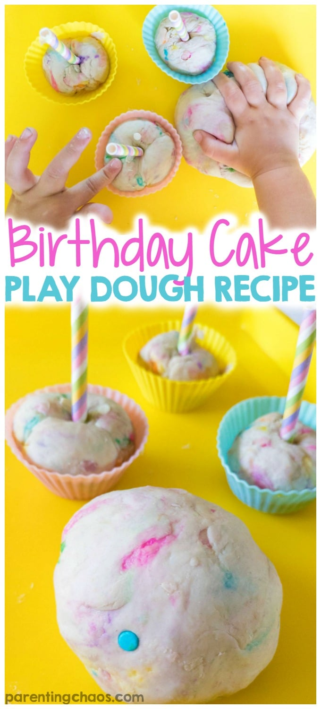 Fabulous Birthday Cake Play Dough Recipe Parenting Chaos Personalised Birthday Cards Veneteletsinfo