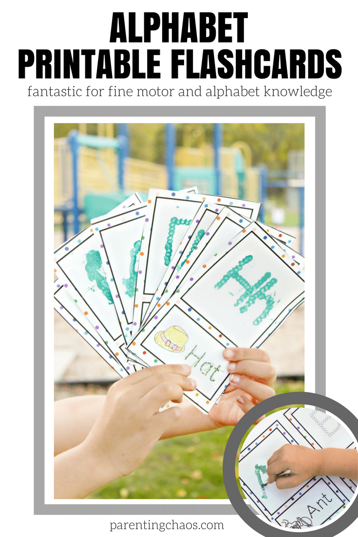 Q-Tip Alphabet Flashcards for fine motor development and alphabet knowledge