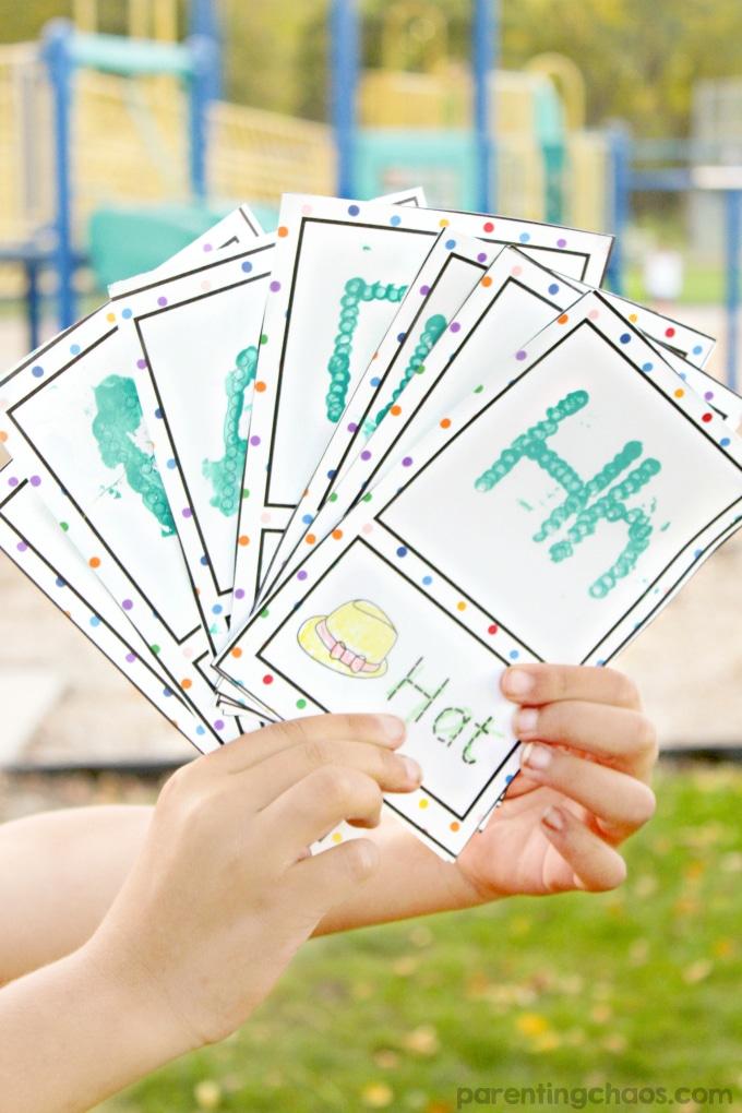 Q-Tip Alphabet Flashcards for fine motor development and alphabet knowledge
