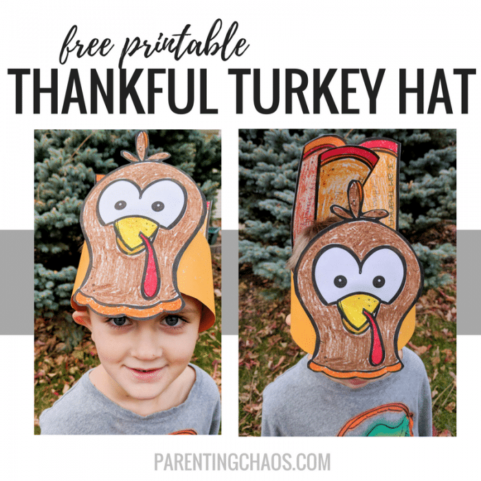 "Free ""Thankful"" Turkey Hat Printable for Kids"