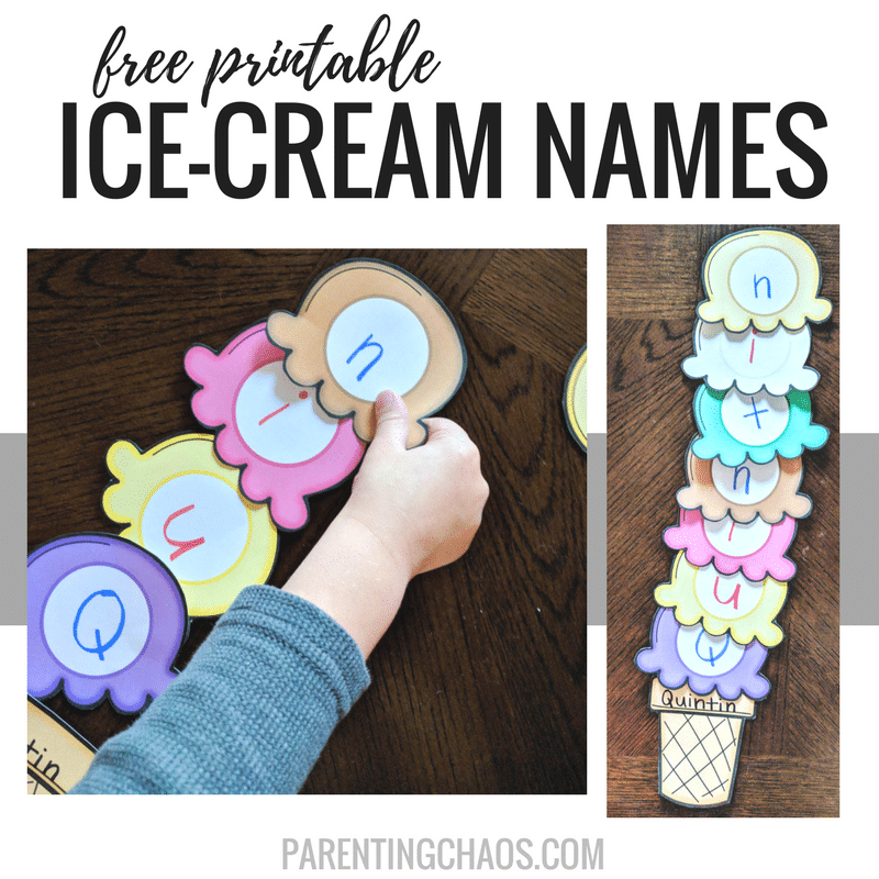 Free Printable Ice-Cream Scoops Name Game