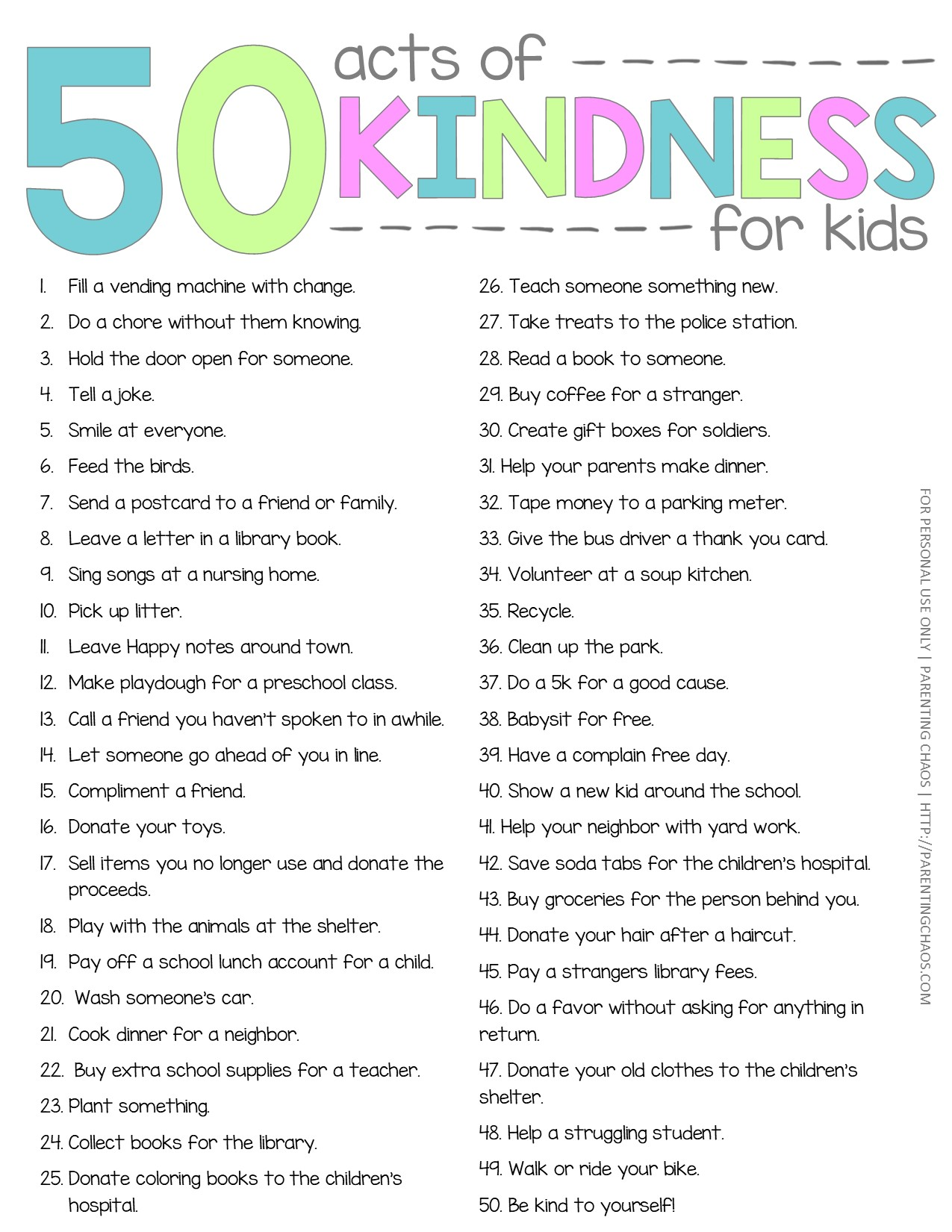50 Random Acts of Kindness for Kids