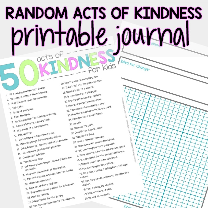random acts of kindness printable journal parenting chaos