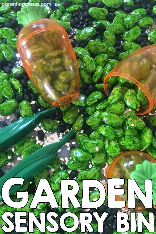 A simple spring garden sensory bin