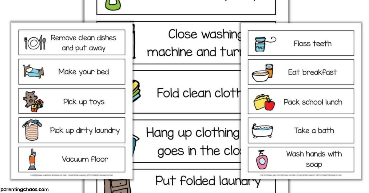 graphic regarding Printable Chore Cards identified as Visible Process Chore Playing cards Printable ⋆ Parenting Chaos