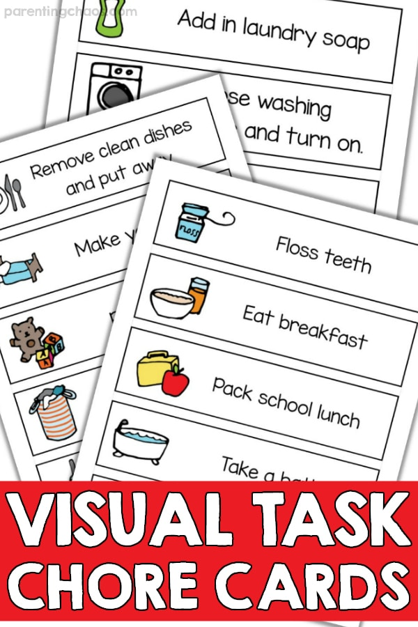 image about Printable Task Cards titled Visible Job Chore Playing cards Printable ⋆ Parenting Chaos
