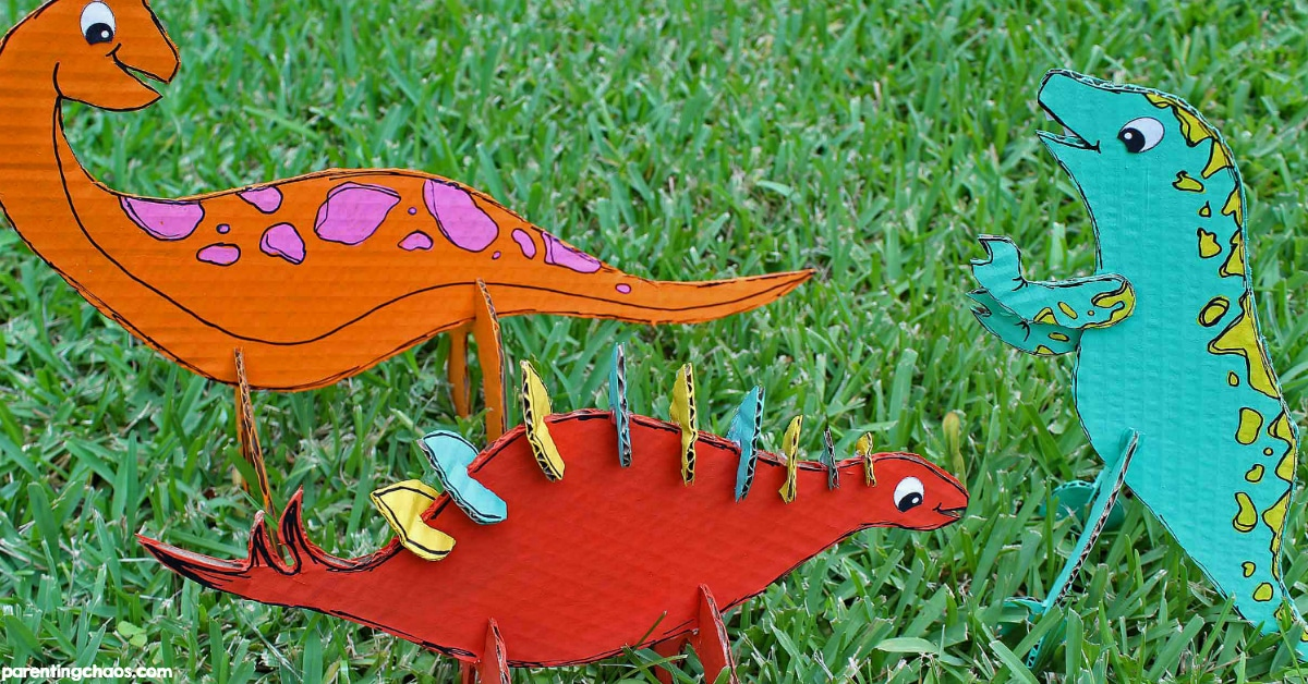 Cardboard Dinosaur Craft for Kids ⋆ Parenting Chaos