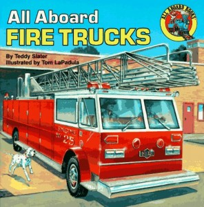 "March 9, 2012 | 33 Comments BOOKS ABOUT FIREFIGHTERS & FIRE TRUCKS {Hello! If you are checking us out for the first time and like what you see you can subscribe here and follow us on facebook to get new ideas to play and learn with your kids daily. } fire truck books for kids Fire trucks are cool and fire safety is an important topic for every family. Reading books about fire safety is a great way to start a lesson or discussion. Here are 20 children's books about firefighters and trucks we have reviewed over the years. Some we loved and some… not so much. As always we want to hear your opinion about the books we feature so leave a comment telling us your take on these books. books about firefighters Fire Fighters (In My Neighborhood) by Paulette Bourgeois is a great book. This is a book for preschoolers who want to go a little more in depth with fire safety and what fire fighters do. My son loves this book and at the height of his fire fighter obsession asked for this book a lot. Of all the fire themed books we've read I think this one is probably the best choice to use when discussing fire safety with young kids. It's far too long for toddlers though . The Little Fireman by Margaret Wise Brown is a tremendously odd little book. The story is about a big fire fighter and a little one who both rescue 15 fat ladies from fires and then upon returning to the fire stations eat bowls of pink ice cream. Are you still with me? Odd right? Well the magic of books especially ones with bright colors and a subject that is well loved by the child reading it is that even odd things get a pass. My son really liked this book and happily added it to his favorites for a long time. Firefighters A to Z by Chris L. Demarest is an alphabet book that teaches about fire safety and the danger firefighters face every time the alarm sounds. My son is fascinated with firefighters right now, he loves to dress up as one at preschool and we often take the long way home to swing past the station and see if the engines are in or not. He loves this book but I don't think your child needs to have the level of obsession mine does to enjoy it. The Great Big Fire Engine Book by Tibor Gergely was written in 1950 and was a great tool to talk about how firefighting has changed in the last 60 plus years. The illustrations are fantastic and I loved that my son who was 4 when we first read this immediately noticed some of the differences . No air tanks, only Caucasian men and the firemen all held on to the sides of the truck. But his biggest observance was the lack of radios and walkie talkies. I love the art work in this book and your kids will too. books about firefighters Firefighters to the Rescue by Kersten Hamilton is a beautifully illustrated look at the heroic happenings of a group of firefighters. Unlike many of the other books on this list we never bought this one, because we took it out from the library so often. The retro illustrations are so beautiful and the refrain of ""Firefighters to the rescue!"" is so fun that my son was absolutely drawn to it. It's simple and doesn't go into too much detail which makes it a good choice for kids under 4. Firefighters: Speeding! Spraying! Saving! by Patricia Hubbell is a wonderful rhyming book all about the work firefighters do. After only reading it twice my son was rhyming along with the simple but well crafted text. I liked that there was a mix of male and female firefighters, that the text incorporates information about equipment as well as tasks the firefighters complete on a call. Perhaps my favorite thing about this book are the details in the illustrations by Viviana Garofoli, the soot on the faces of the rescued and firefighters, the unique angles used in the illustrations and the fun colors. Great book! The Little Fire Engine by Lois Lenski is a simple little book about a fire engine that goes to put out fires. Nothing special but every time my son sees it at the library he won't let it go. In 6 months we've taken it out 4 times. I think the bright retro illustrations and the simple text is what makes it so appealing. Even Firefighters Hug Their Moms by Christine Kole MacLean was disappointing. The illustrations are adorable but it seemed like the author was writing the book more for moms to read than for kids . While some books successfully entertain both parents and children , this one wasn't very entertaining for anyone. I really wanted to like it, and maybe you will but I won't be adding it to any must read lists any time soon. sesame street books I Want to Be a Fire Fighter (Sesame Street) by Linda Lee Maifair was a Goodwill find and a great bargain considering we have read this book countless times. Yes it's a character book but it's a good one, besides who doesn't love Grover? In it Grover is getting ready to have a visit from his uncle who is a firefighter and so he decides to play pretend firefighter. He dresses up ( using a mix of found items – yay for creativity) and then after his uncle arrives they visit his fire station. He gets a tour and finds out why there is dinner on the table but no firefighters anywhere, because they are out on a call. In a simple narrative there is a lot of great information. fire truck books Big Frank's Fire Truck by Leslie McGuire is another book that manages to tell a good story and fit a heck of a lot of facts about firefighters and all the different things they do as part of their job. My son loved Big Frank, probably in part because he's so big he almost looks like a firefighting super hero. What I liked was how the book did a good job explaining not just about how they fight fires but how firefighters also teach fire safety, check alarms at businesses and attend to car accidents. The text is long it was a great fit for my son was 4 but I wouldn't try to read the whole things to a child who is much younger than that. Flashing Fire Engines by Tony Mitton is a favorite at our house. Normally even after my son and I read the books we review I grab them to do the write up , this is on my son's shelf where it always is I know the whole thing off by heart as does my son , so no need to grab it for reference. The book is a rhyming masterpiece, somehow keeping up the rhyming pace as it explains how firefighters fight fires and rescue people! Details like what gear they wear, and how hoses and hydrants work are included as well as ladders and sirens. My son loves this book and as an adult who has read it hundreds of times it's fun to read, even over and over again. Fire Engines by Anne Rockwell has been a favorite at our house for a long time. I found it at a thrift store for twenty five cents and I am definitely getting much more than my money's worth! It's a cute book with easy text and cute cartoon dalmatians as fire fighters. I particularly love that there is a fire boat in the book since we often see those around here. Simple book for fire engine lovers from an author who is consistently well loved by both my kids. LEGO City: Fire Truck to the Rescue (Level 1): Fire Truck To The Rescue! by Sonia Sander is another great Lego book for emergent and early readers. If your child is like my son and loves fire fighters and fire trucks this is a great book. Not just because of the subject matter but also because they may already be familiar with how some of those words look in print, giving them some confidence to tackle this book solo! My son likes to make stations out of duplo and act out this book after reading it. It's also a favorite for rides in the car. fire truck books Richard Scarry's Busiest Firefighters Ever (Little Golden Books) is a throw back to my childhood and one thing I know for certain is that when you are excited about a book your kids will be too. I told my son how much I loved Richard Scarry books as a kid and he was that much more excited to read. The story is familiar but there is something about Busytown that just makes the story more fun. The goofy details and cartoony vibe makes this a great book for younger kids but my son who is 5.5 years old still loves it. 20 firetruck books All Aboard Fire Trucks by Teddy Slater"