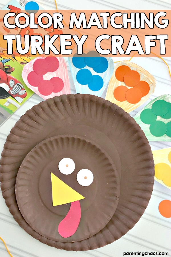 Color Matching Paper Plate Turkey Craft for Preschoolers