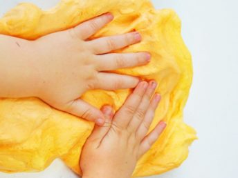 Fluffy Pumpkin Slime Recipe with Kid Hands