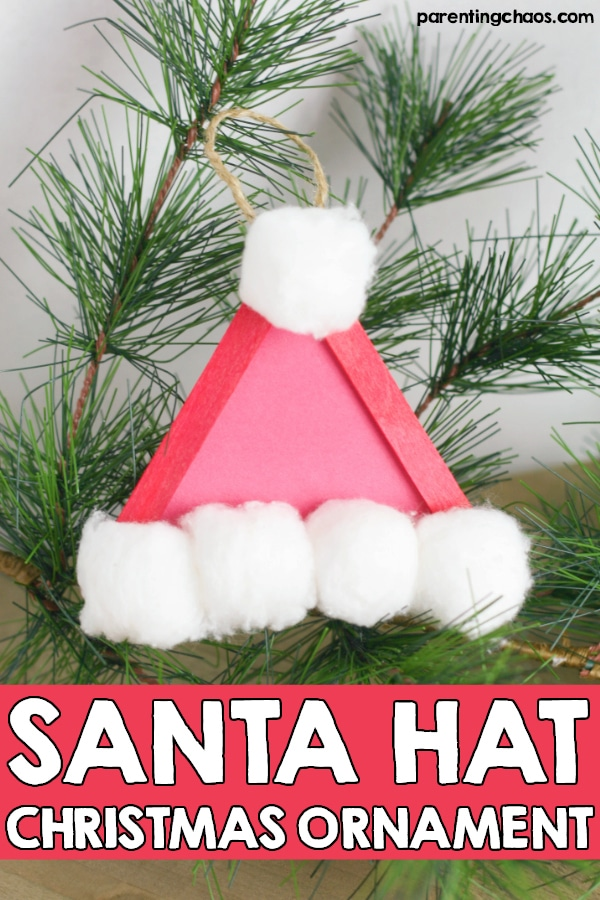Santa Hat Popsicle Stick Ornament for Christmas