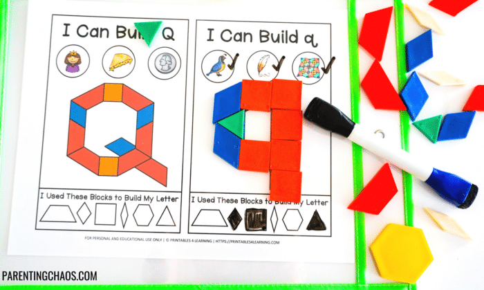 Alphabet pattern blocks letters